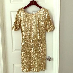 Glam sequence gold dress
